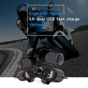 Image 2 - אופנוע WUPP מצית שקע USB הכפול מטען מהיר מד מתח דיגיטלי שעון מתג שליטה עמיד למים OCP