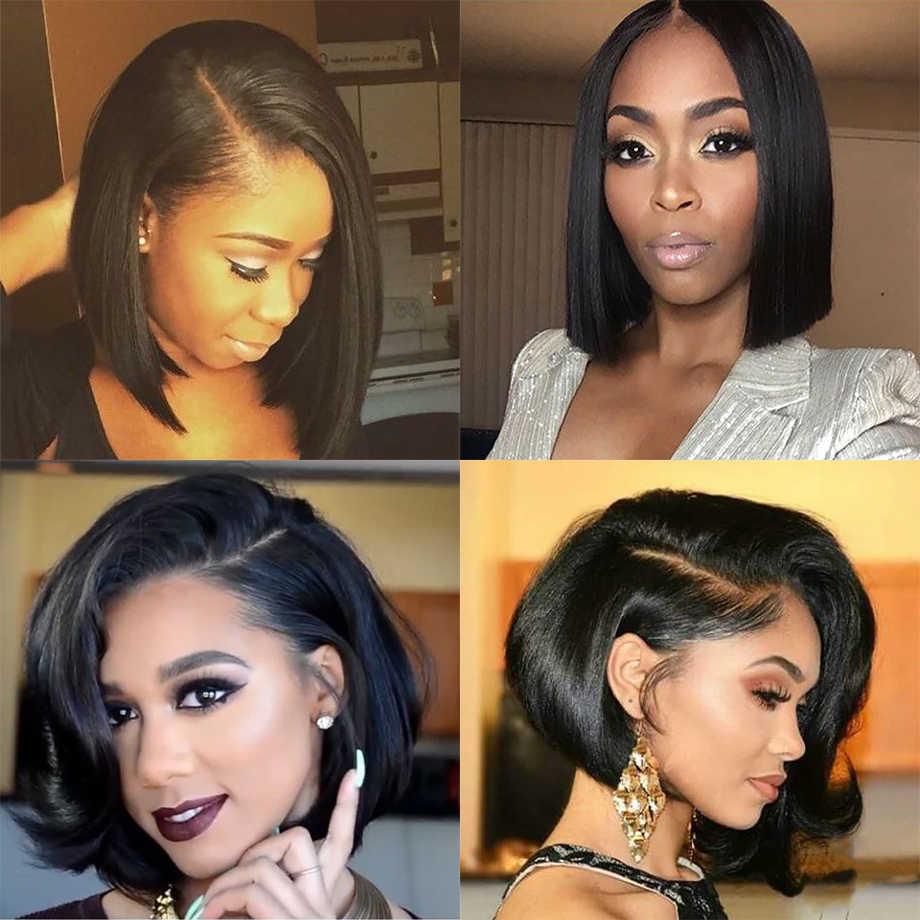 Парики из натуральных волос на коротком кружевном фронте, парик из Боба, полный и толстый, для черных женщин, натуральный цвет, бразильские волосы remy, бесплатная доставка, Кукольное лицо