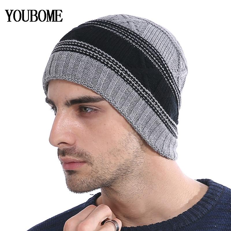 YOUBOME Fashion Winter Hats For Men Women Skullies Beanies Men Knitted Hat Male Caps Bonnet Warm Fur Brand Winter Beanie Hat Cap in Men 39 s Skullies amp Beanies from Apparel Accessories