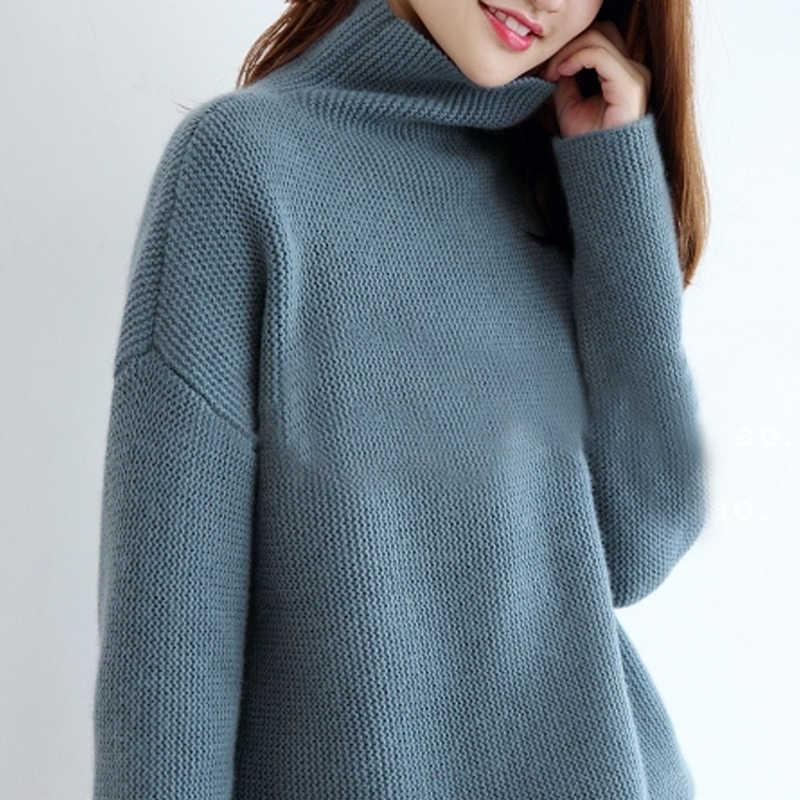 Blusas de lã de moda 2018 mulheres Novas Tops casuais suéter de cashmere pescoço de Tartaruga malha pulôver feminino manga batwing blusa