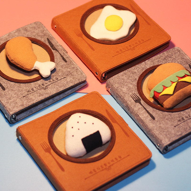 Creative Korea Japan Journal notebook loose-leaf kawaii Hamburger chicken leg notepad 80pages students gifts scool office supply