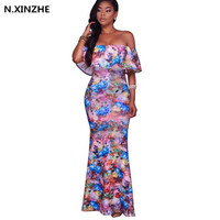 Boho Fashion Sexy Bodycon Summer Long Maxi Dresses Off The Shoulder Strapless Flower Print Backless Elegant Party Dres B53
