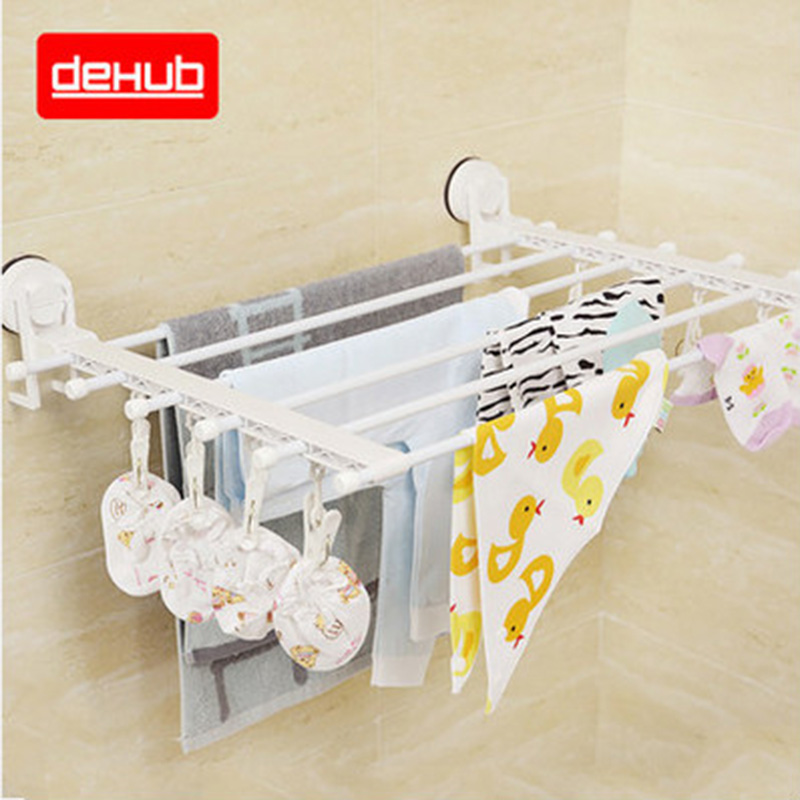 Multifunction Wall Mounted Towel Holder Foldable Movable Bath Towel Holder Suction Telescopic Racks Towel Rack Hang Drying Rack