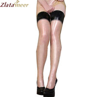 Rubber Latex Stockings Women Fetish Transparent Rubber Tights With Black Edge Customize Service LA052