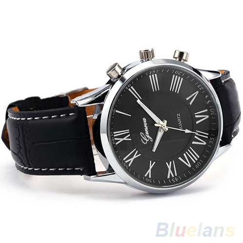 Hot Sales Fashion Roman Dial watch Mens Elegant Leather Black Analog Quartz Sport Wrist Watch Men 0675