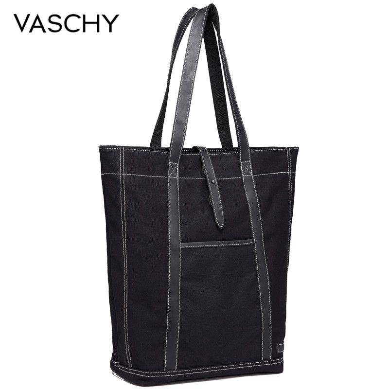 VASCHY Retro Canvas Leather Totes for Women Luxury Handbags Women Bags Designer Water Resistant Tote Bag