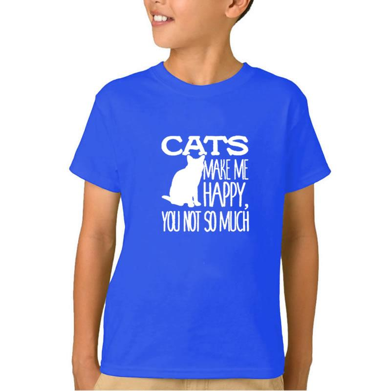 2018 New Fashion Cats Make Me Happy You Not So Much Print Boys Clothes Children T-Shirts For Bodysuit Cute O-Neck Cotton 8 Years