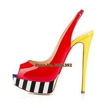 High Heel Peep Toe Pumps Woman Patent Leather Slingback Multi-color Nightclub Shoes Plus Size Elegant High Platform Shoes цены онлайн