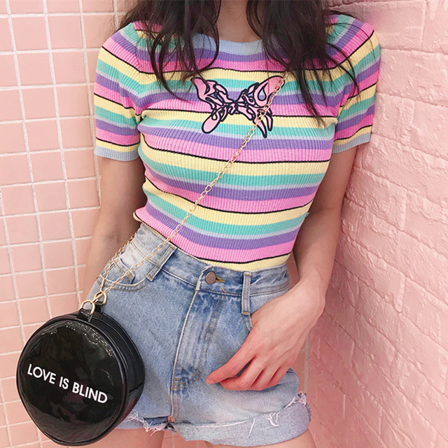fcb6469d3f6 Harajuku UNIF Sweater Pastel Rainbow Striped Embroidery Butterfly Ribbed  Knit Top Tees Cropped Short Sleeve T