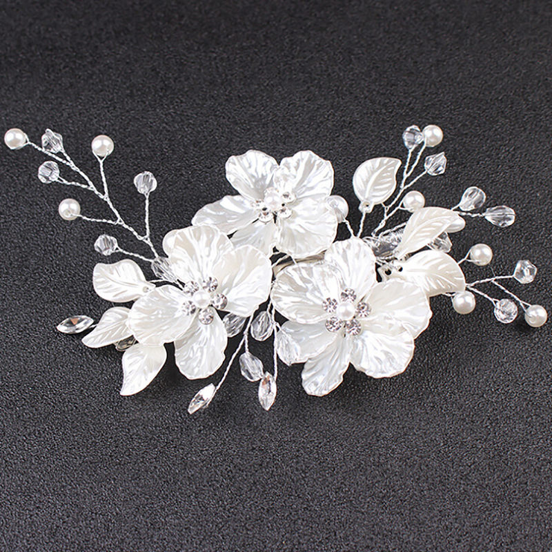 Jewelry Barrette Hair-Accessories Flower Bride-Hair Crystal Pearl Floral-Style