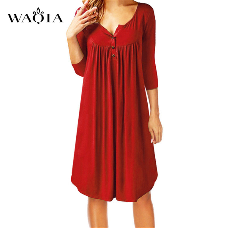 WAQIA Summer Dress New Dresses 2018 Fashion Women Casual Loose Plus Size 5XL Elegant Dress Three Quarter Solid Dresses Vestidos