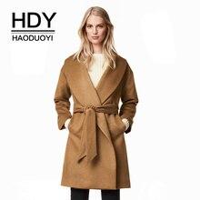HDY Haoduoyi 2017 Новинка зимы модные теплые миди longtrench Пальто ПР очередь Подпушка воротник свободно Blet пальто Повседневное Chic Для женщин верхняя одежда