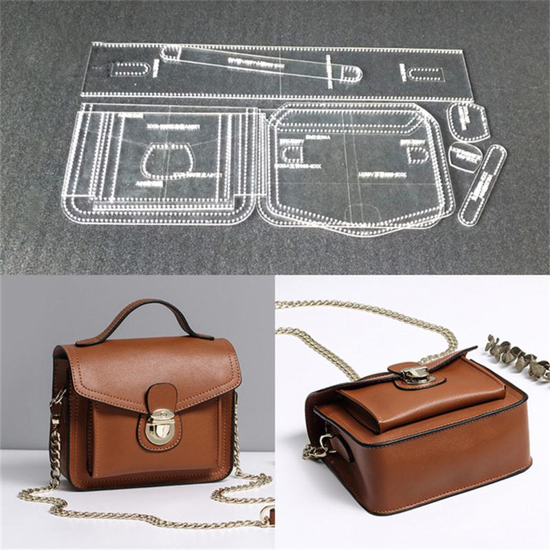 1set Acrylic Template Pattern For Women Shoulder Bag Soft Leather Craft Pattern DIY Bag Stencil Sewing Pattern 17x13x10cm