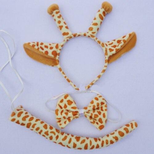Детское взрослое животное ухо оголовье хвост кошка обезьяна Минни Маус Кролик Леопард лягушка лиса волк медведь леопард тигр вечерние головные уборы - Цвет: giraffe