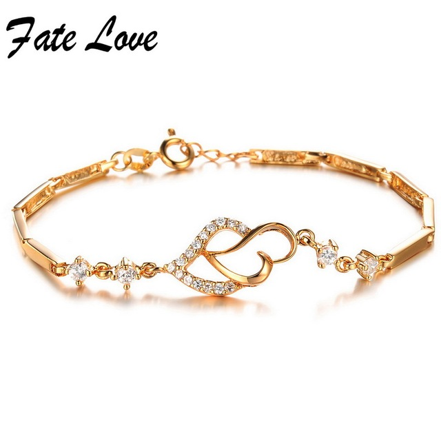 New fashion Simple style Gold Plated charm bracelets  AAA Quality Zircon Heart  Bracelet For Women 412