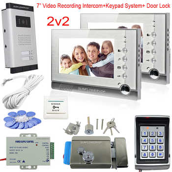 2 Apartments Video Intercom With Recording Function Intercom Camera Video Doorbell Access Control Keypad Rfid Code Door Phone - DISCOUNT ITEM  10% OFF Security & Protection