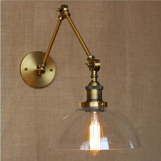 купить Golden RH Style Loft Industrial Wall Lamp Vintage Lights Fixtures With Glass Lampshade Edison Wall Sconce Arandela Lampara Pared по цене 4312.4 рублей