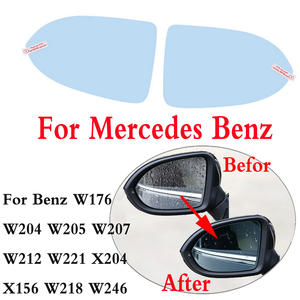 Para Benz W176 W204 W205 W207 W212 W221 X204 X156 W218 W246 C117 coche espejo Anti niebla impermeable protector impermeable membrana