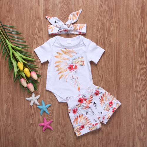 Fashion Newborn Toddler Baby Boy Girl Bodysuits Outfits Clothes Summer Headband Tops+Pants 3Pcs Sets 0-24M