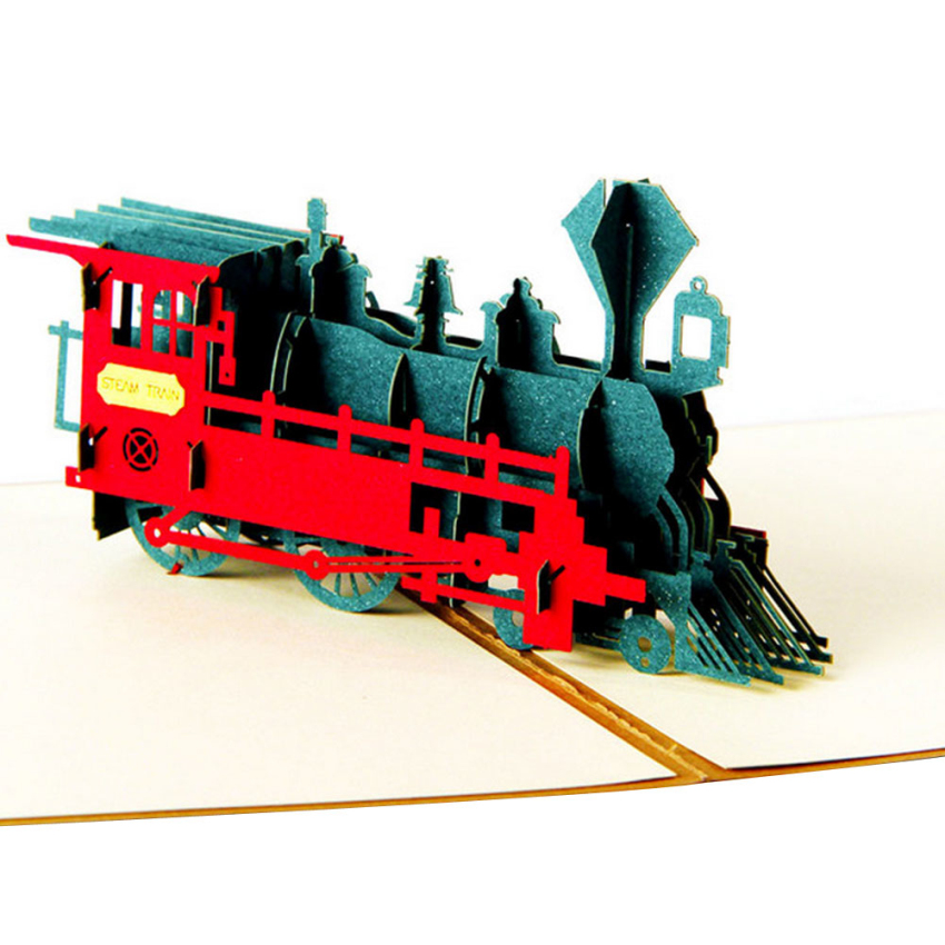 Funny Vintage Train 3D Greeting Card Fantastic Three-dimensional Universal Used Pop Up p ...