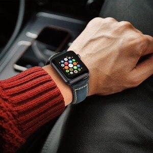 Image 4 - Maikes para apple pulseiras de relógio 42mm 38mm / 44mm 40mm série 4/3/2/1 iwatch azul cera de óleo pulseira de couro para apple pulseira de relógio