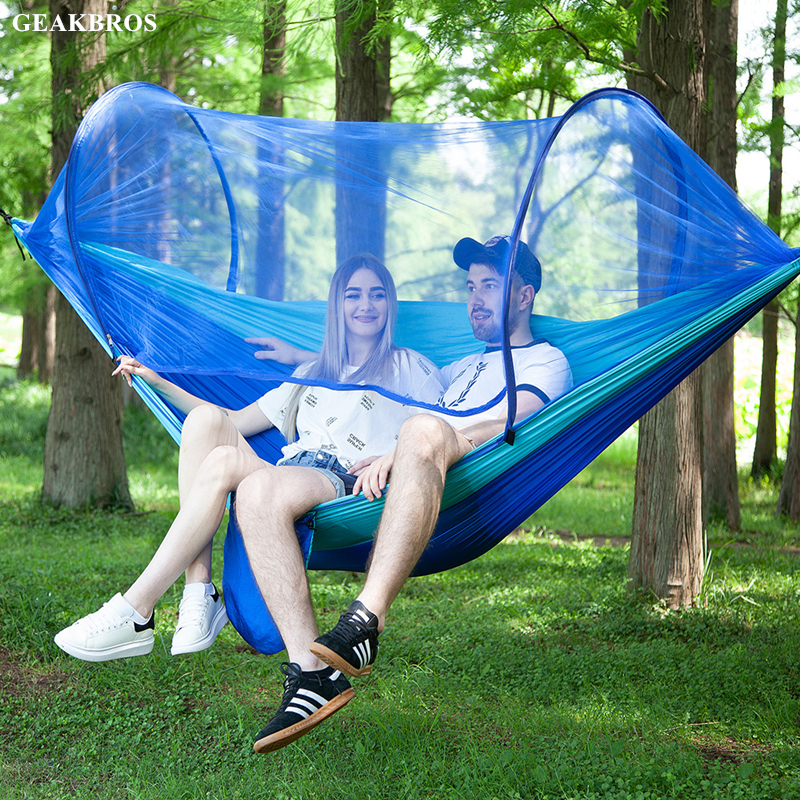 carabiners &ampropes Are Included Camp Sleeping Gear Sports & Entertainment Hearty 8 Colors Portable Lightweight Camping Double Person Hammock With Mosquito Net For 2 Adults