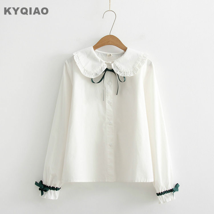 Kyqiao White Shirt 2019 Mori Girls Autumn Spring Japanese Style Fresh Long Sleeve Turn-down Collar White Leaves Embroider Blouse Women's Clothing