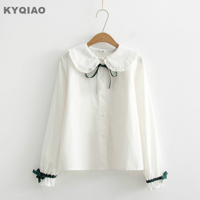 c1652fa6d KYQIAO Sweet Lolita shirt mori girls autumn winter Japanese style fresh  kawaii long sleeve peter pan collar bowknot white blouse