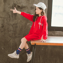 Toddler Gilrs Tops Spring Teen Girl Children Sweater Dress Red Black Striped Hooded Kids Dresses for Girls Clothes Costume