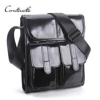 CONTACT S Brand Design Genuine Oil Wax Leather Men Bags For Fashion Handbags Shoulder Vintage Retro