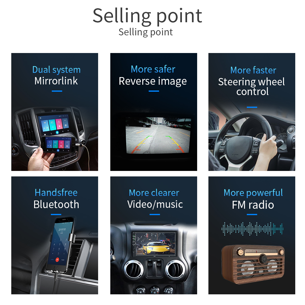 """Image 4 - 7"""" 12V HD Touch Screen Bluetooth Car MP4 MP5 Player Video Audio FM Radio Rearview Camera Phone Connect Car Displayer Handsfree-in Car MP4 & MP5 Players from Automobiles & Motorcycles"""