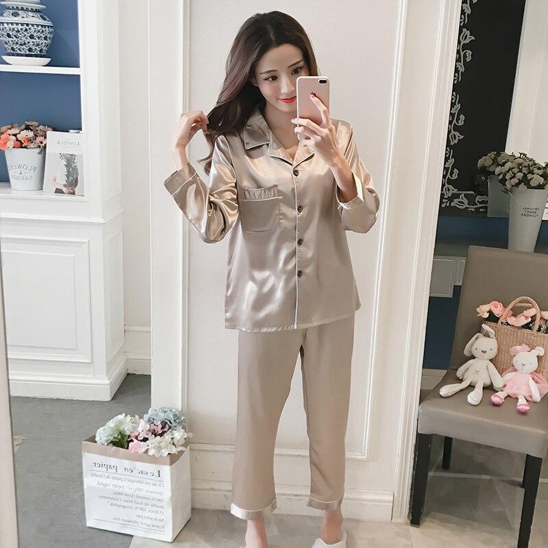 Women Silk   Pajama     Sets   Sexy Satin Sleepwear Turn-down Collar Pyjamas Women Long Sleeve Pijama Spring 2 Pieces   Sets     Pajamas