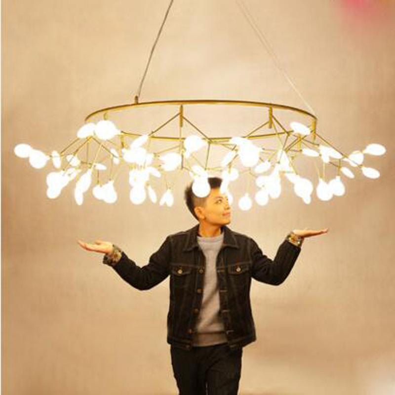 Postmodernen Kreative Wohnzimmer Restaurant Schlafzimmer Art Glhwrmchen Ring Ast Kronleuchter Fhrte Leuchte Acryl LampenChina
