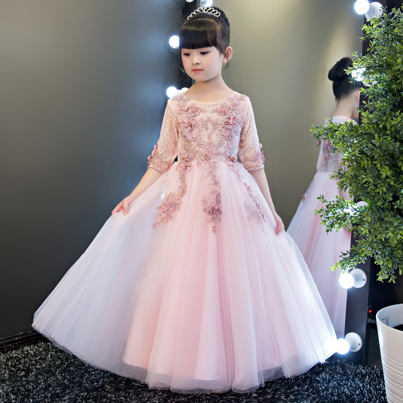 High Quality Baby Girls Wedding Birthday Lace Dress Children Evening Ball Gown Girl Ceremony Dresses Clothes Kids Party Dress 2017 new high quality girls children white color princess dress kids baby birthday wedding party lace dress with bow knot design