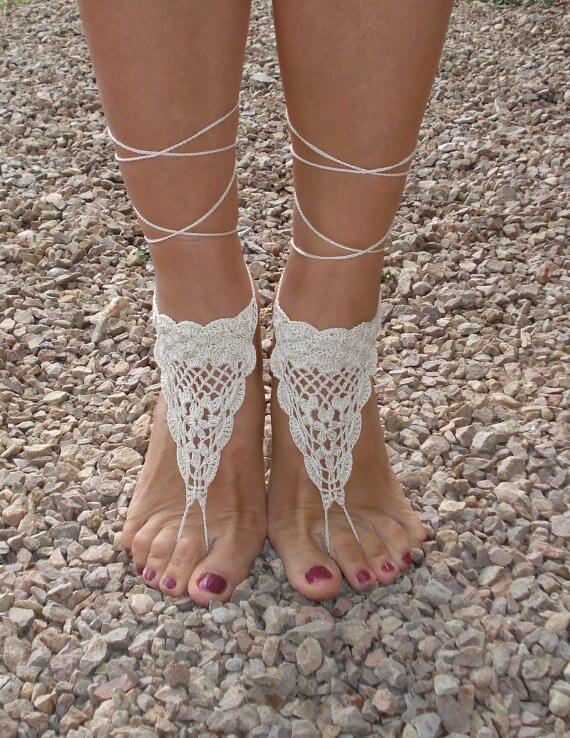 New Haak op blote voeten sandalen, ivoor op blote voeten sandalen #GD77