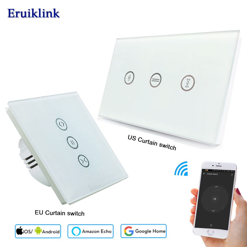EU US Smart WiFi Curtain Switch For Curtain Motors Roller Shutter, Wireless APP Touch Voice Control Works With Alexa Google Home