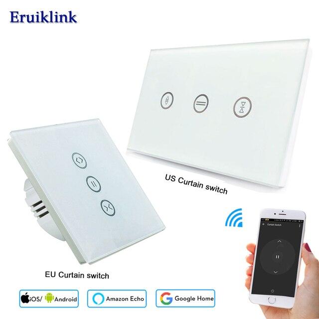 Interruptor de cortina WiFi EU US para obturador de rodillos de motores, vida inteligente Tuya APP WiFi Touch Control de voz trabaja con Alexa de Google