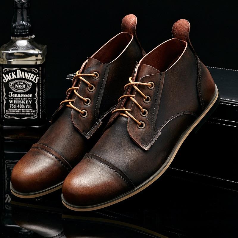 Blue up Ankle brown Genuíno Homens black Casuais De Couro Moda Vantagem Vaca Boots Grande Tamanho Yd Retro Lace red Top Sapatos Botas Quality ever zqwfR