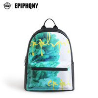 Epiphqny Brand Green Digital Shoulder Bag Yellow Logo Backpack Printing Contrast Color Small Backpack PU Fashion