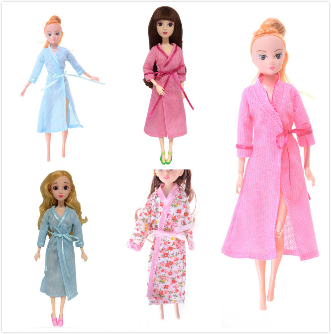 1 Set Lace <font><b>Sexy</b></font> Bedroom Pajamas Robe Nighty Bathrobe Clothes For <font><b>Girl</b></font> Dolls Robe Shorts For Ken BJD Doll Accessories Kids Gift image