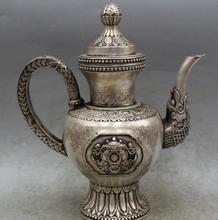 Details about  9″ Chinese Dynasty Silver Dragon handle 8 Auspicious Symbol Wine Tea Pot Flagon