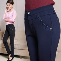 Plus Size 5XL 6XL 7XL Office Style Ladies Slim Fit Formal Pants For Women Stretch Work