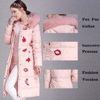 Fox Fur Collar Coat White duck down jacket Women long Thicken winter Parkas Outwear Embroidered Down Coats Female Fashion Coats