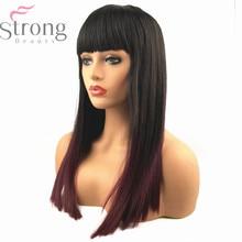 Strongbeauty女性の合成キャップレスナチュラルかつらワイン赤オンブル髪ロングストレートコスプレかつら