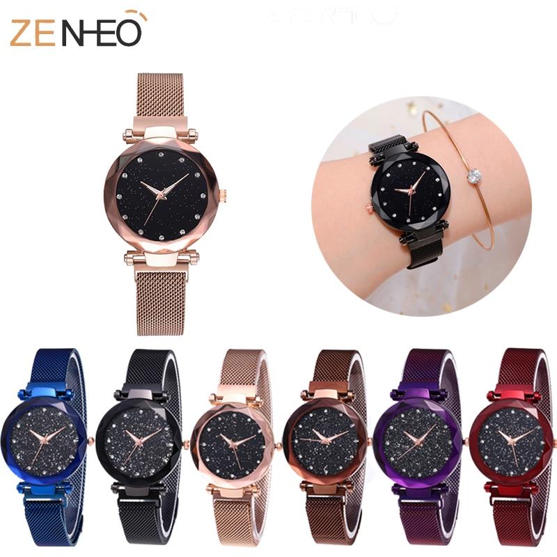 Women Wristwatch Ladies Magnetic Quartz Watches Waterproof Steel Gypsophila Dial Girls Watches Women Wristband Girl Gift Clock