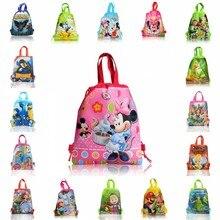 1 piezas de mochilas bolsas 34*27CM de dibujos animados de los niños telas no tejidas Almacenamiento en casa de compras de la escuela