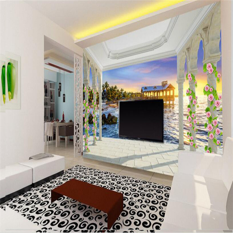 custom 3d photo wallpaper, European balcony island sunrise sea view 3D bedroom living room TV background wall painting wallpaper book knowledge power channel creative 3d large mural wallpaper 3d bedroom living room tv backdrop painting wallpaper