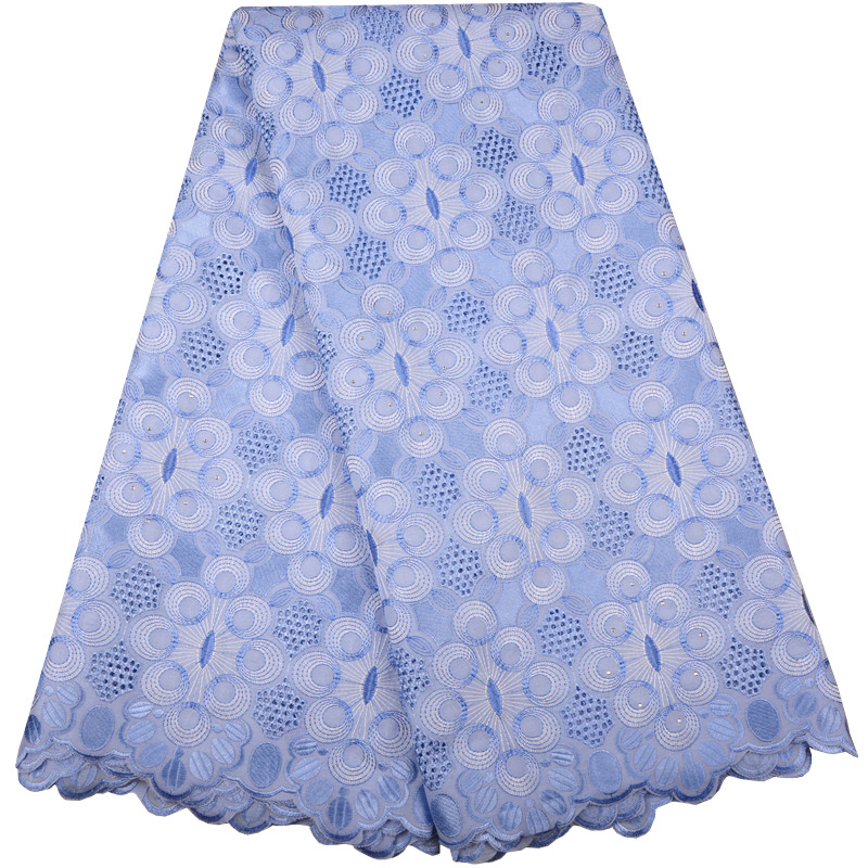 Sky Blue Swiss Voile Lace In Switzerland With Stones Embroidery Nigerian Lace Fabrics For Wedding African
