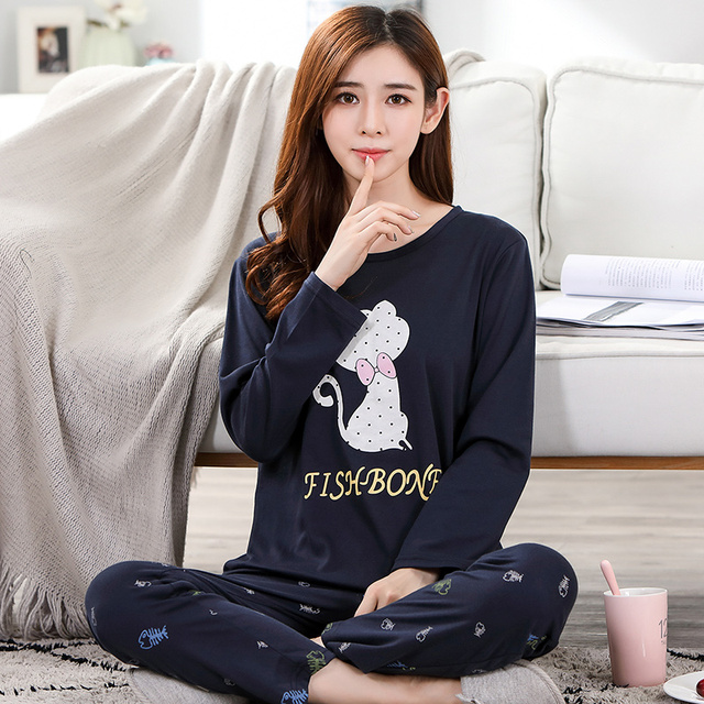 e80b4bdf34 Newest Spring And Autumn 100% Cotton Women Pajamas Set Long Sleeve Pyjama Plus  Size M-5XL Ladies Sleepwear Home Clothing