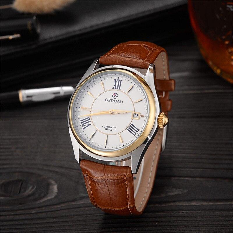 GEDIMAI Mens Watches Top Brand Luxury Automatic Mechanical Watch Men Leather Waterproof Sport Relogio Masculino